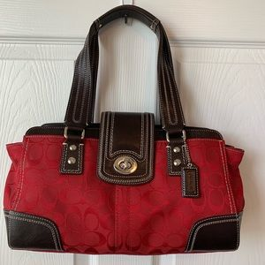 Coach signature purse red with brown trim